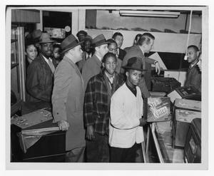 Primary view of object titled '[Kenton and fans at record store]'.