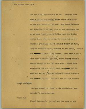 Primary view of object titled '[News Script: Boy rocket team]'.