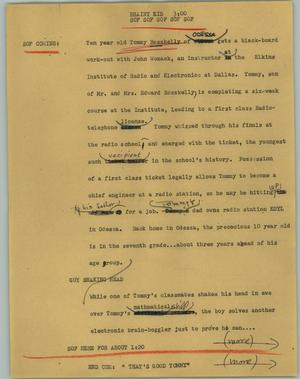 Primary view of object titled '[News Script: Brainy kid]'.