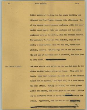 Primary view of object titled '[News Script: Rape-robbery]'.