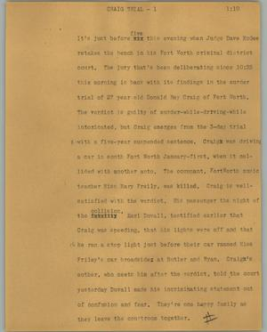 Primary view of object titled '[News Script: Craig trial]'.