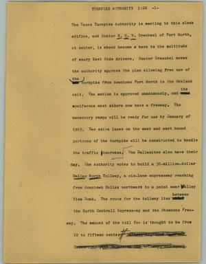 Primary view of object titled '[News Script: Turnpike authority]'.
