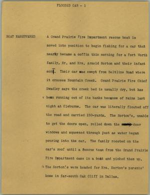Primary view of object titled '[News Script: Flooded car]'.