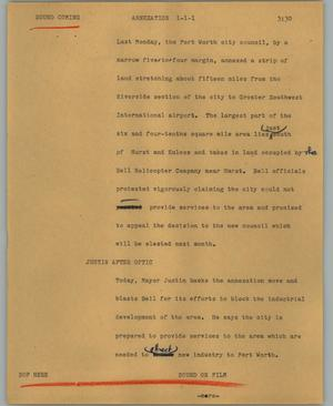 Primary view of object titled '[News Script: Annexation]'.
