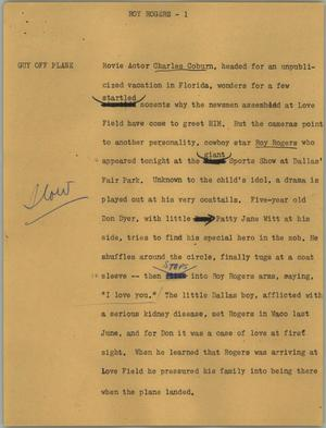 Primary view of object titled '[News Script: Roy Rogers]'.