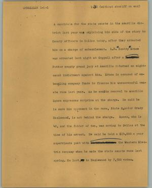 Primary view of object titled '[News Script: Embezzler]'.