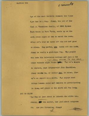Primary view of object titled '[News Script: Sliding dog]'.