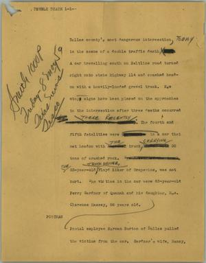 Primary view of object titled '[News Script: Double death]'.