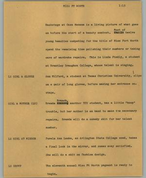 Primary view of object titled '[News Script: Miss Ft Worth]'.