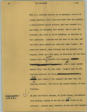 Primary view of object titled '[News Script: Cop shooting]'.