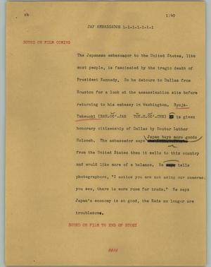 Primary view of object titled '[News Script: Jap ambassador]'.