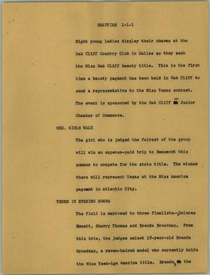 Primary view of object titled '[News Script: Beauties]'.