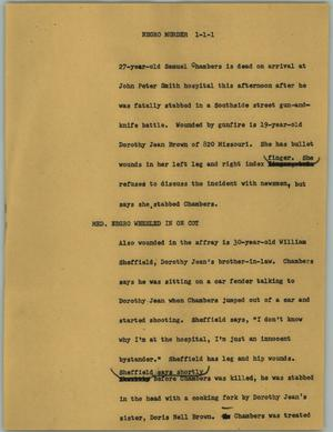 Primary view of object titled '[News Script: Negro murder]'.