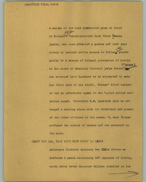 Primary view of object titled '[News Script: Narcotics trial]'.