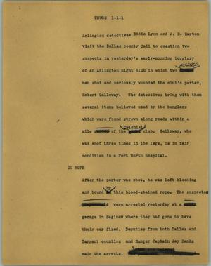 Primary view of object titled '[News Script: Thugs]'.