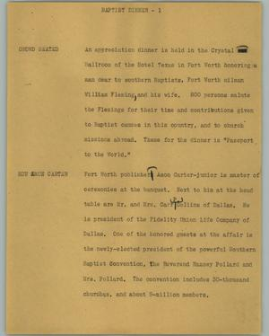 Primary view of object titled '[News Script: Baptist dinner]'.