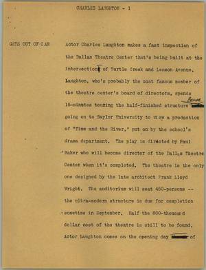 Primary view of object titled '[News Script: Charles Laughton]'.