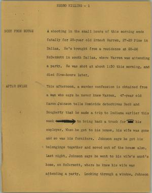 Primary view of object titled '[News Script: Negro killing]'.