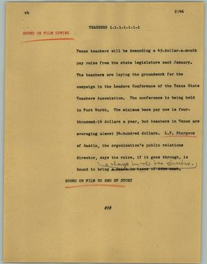 Primary view of object titled '[News Script: Teachers]'.