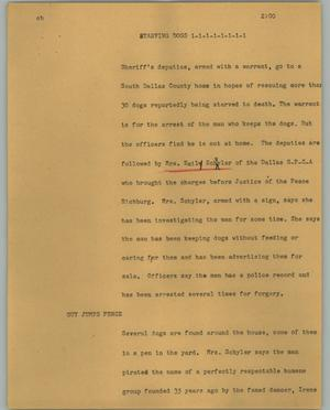 Primary view of object titled '[News Script: Starving dogs]'.