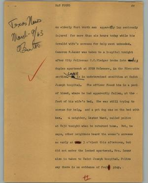 Primary view of object titled '[News Script: Man Found]'.