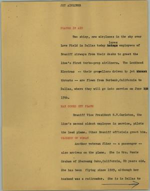 Primary view of object titled '[News Script: Jet airliner]'.