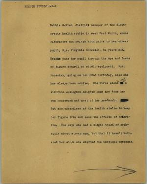 Primary view of object titled '[News Script: Health studio]'.