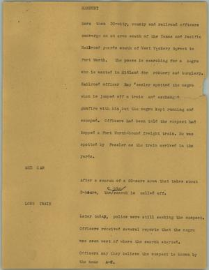 Primary view of object titled '[News Script: Manhunt]'.