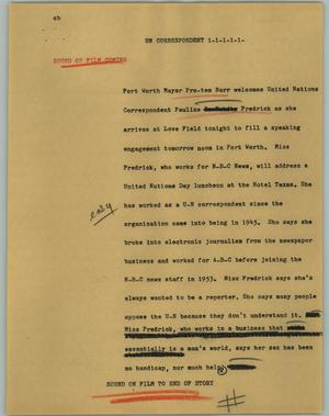 Primary view of object titled '[News Script: UN correspondent]'.