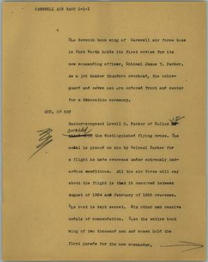 Primary view of object titled '[News Script: Carswell Air Base]'.