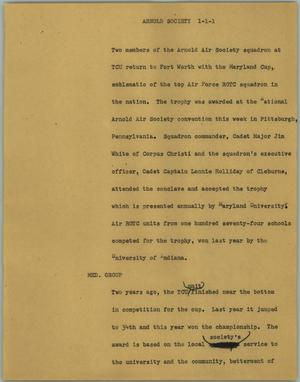 Primary view of object titled '[News Script: Arnold society]'.