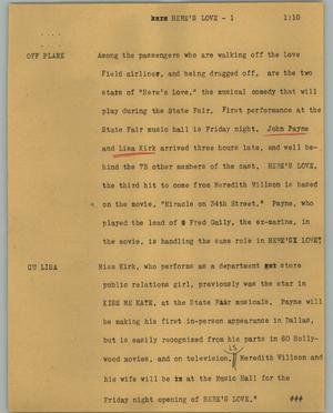 Primary view of object titled '[News Script: Here's love]'.