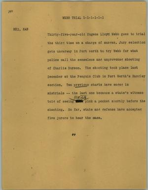 Primary view of object titled '[News Script: Webb trial]'.