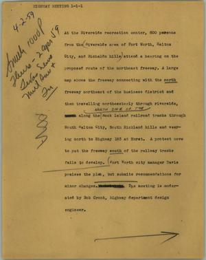 Primary view of object titled '[News Script: Highway meeting]'.