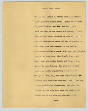 Primary view of object titled '[News Script: Screen star]'.