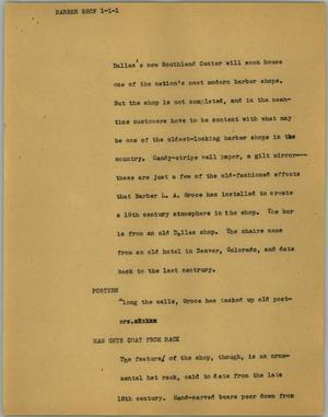Primary view of object titled '[News Script: Barber shop]'.