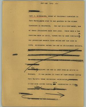 Primary view of object titled '[News Script: Old car]'.