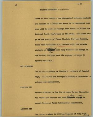 Primary view of object titled '[News Script: Science students]'.