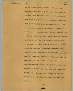 Primary view of object titled '[News Script: Firemen sue ]'.