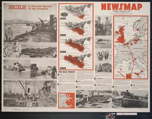 Primary view of object titled 'Newsmap. Monday, August 2, 1943 : week of July 22 to July 29, 203rd week of the war, 85th week of U.S. participation'.