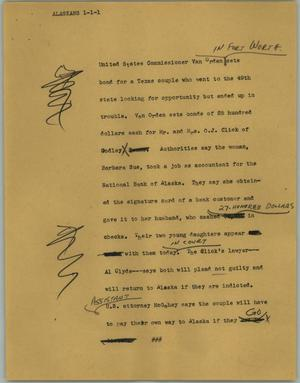Primary view of object titled '[News Script: Alaskans]'.