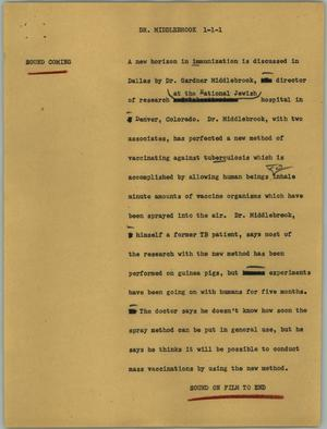 Primary view of object titled '[News Script: Dr. Middlebrook]'.