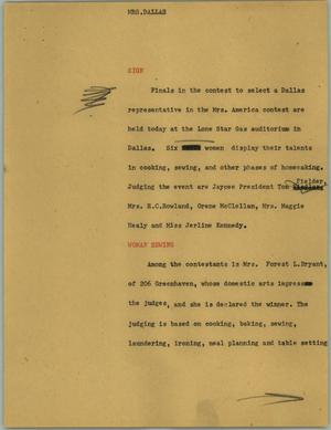 Primary view of object titled '[News Script: Mrs. Dallas]'.