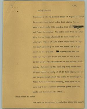 Primary view of object titled '[News Script: Abandoned baby]'.