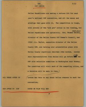 Primary view of object titled '[News Script: GOP]'.