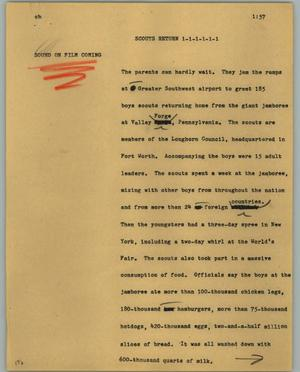 Primary view of object titled '[News Script: Scouts return]'.