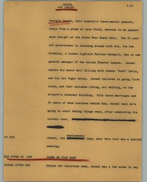 Primary view of object titled '[News Script: Jessel]'.