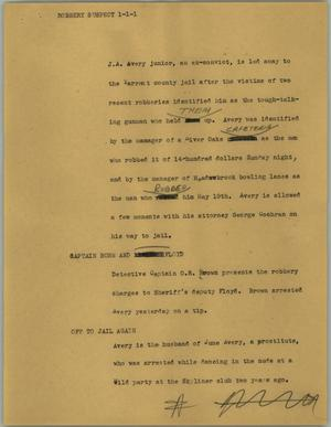 Primary view of object titled '[News Script: Robbery suspect]'.