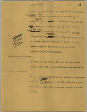 Primary view of object titled '[News Script: Service road]'.