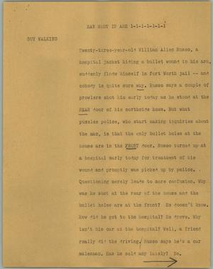 Primary view of object titled '[News Script: Man shot in arm]'.